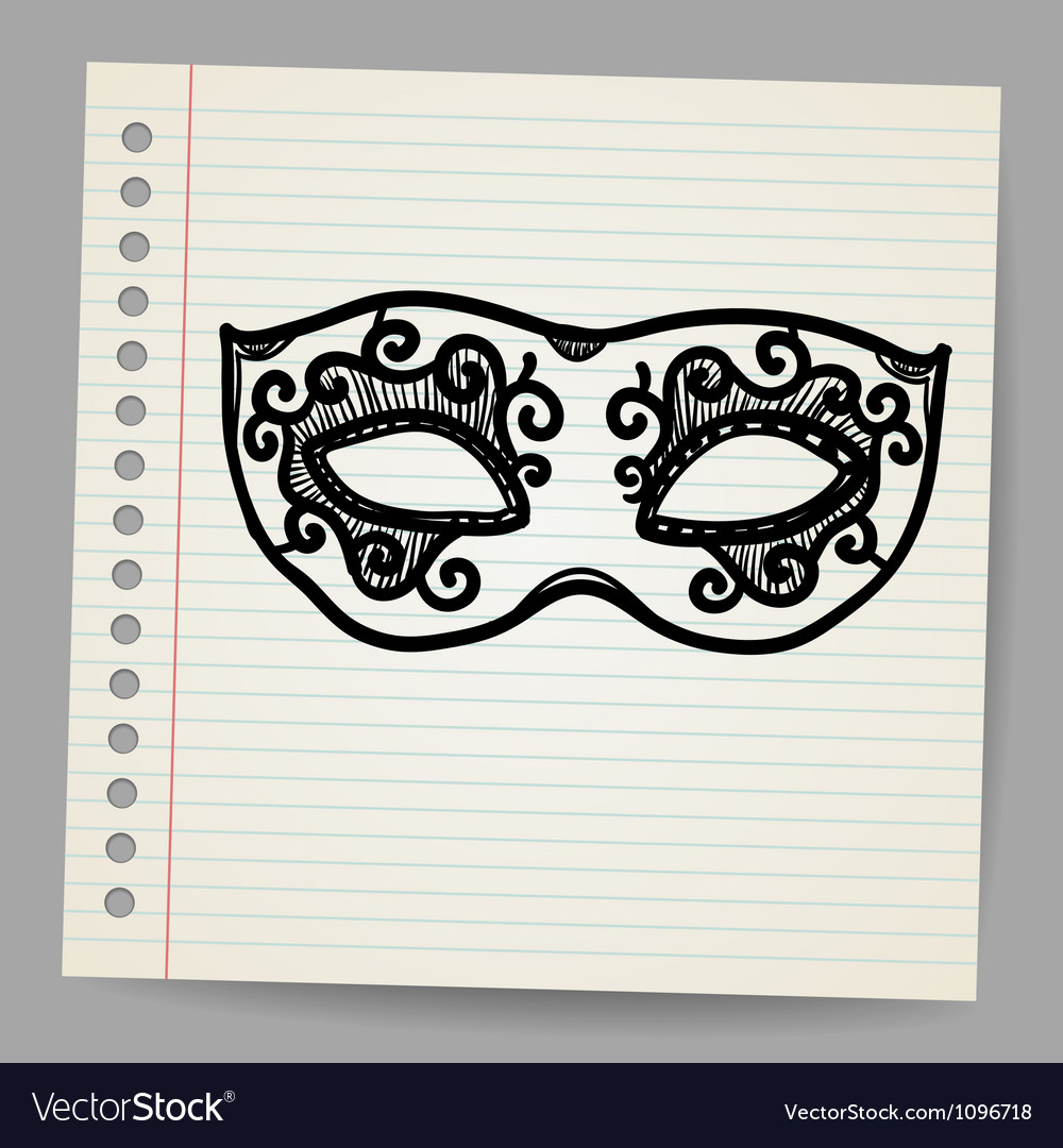 Vintage mask doodle vector | Price: 1 Credit (USD $1)