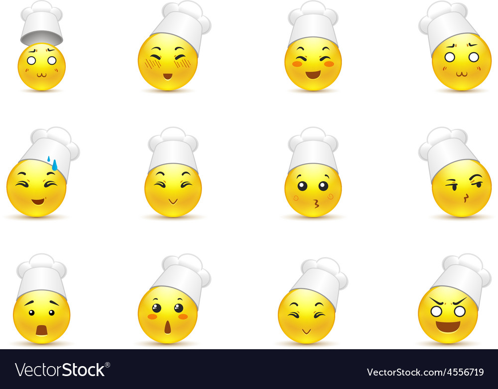 Anime smilies in the kitchen vector | Price: 1 Credit (USD $1)