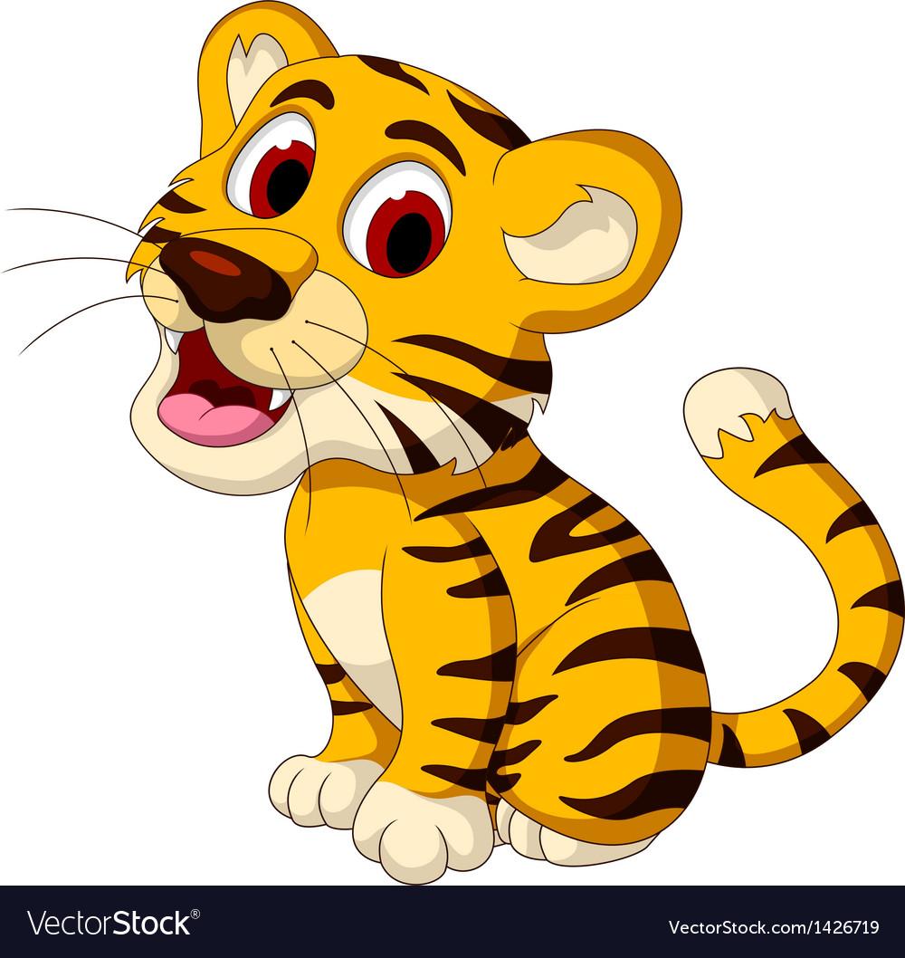Cute baby tiger posing vector | Price: 1 Credit (USD $1)