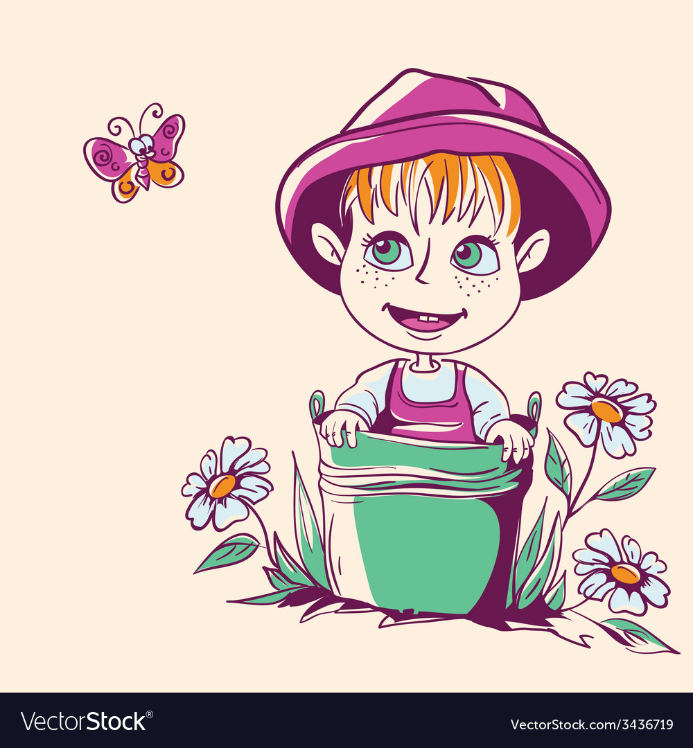 Funny little girl in a pink hat vector | Price: 3 Credit (USD $3)