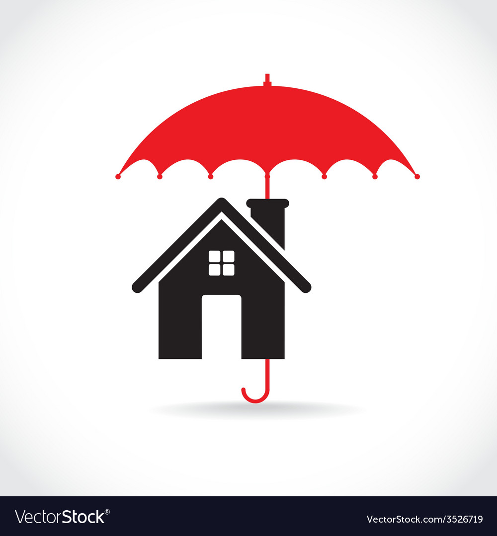 House with umbrella vector | Price: 1 Credit (USD $1)