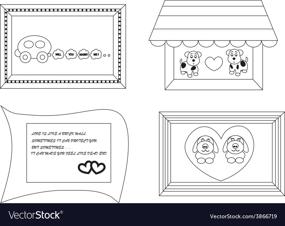 Linear cute cartoon frames about love1 01 vector | Price: 1 Credit (USD $1)