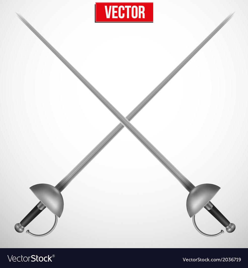 Pair of fencing rapiers realistic vector | Price: 1 Credit (USD $1)