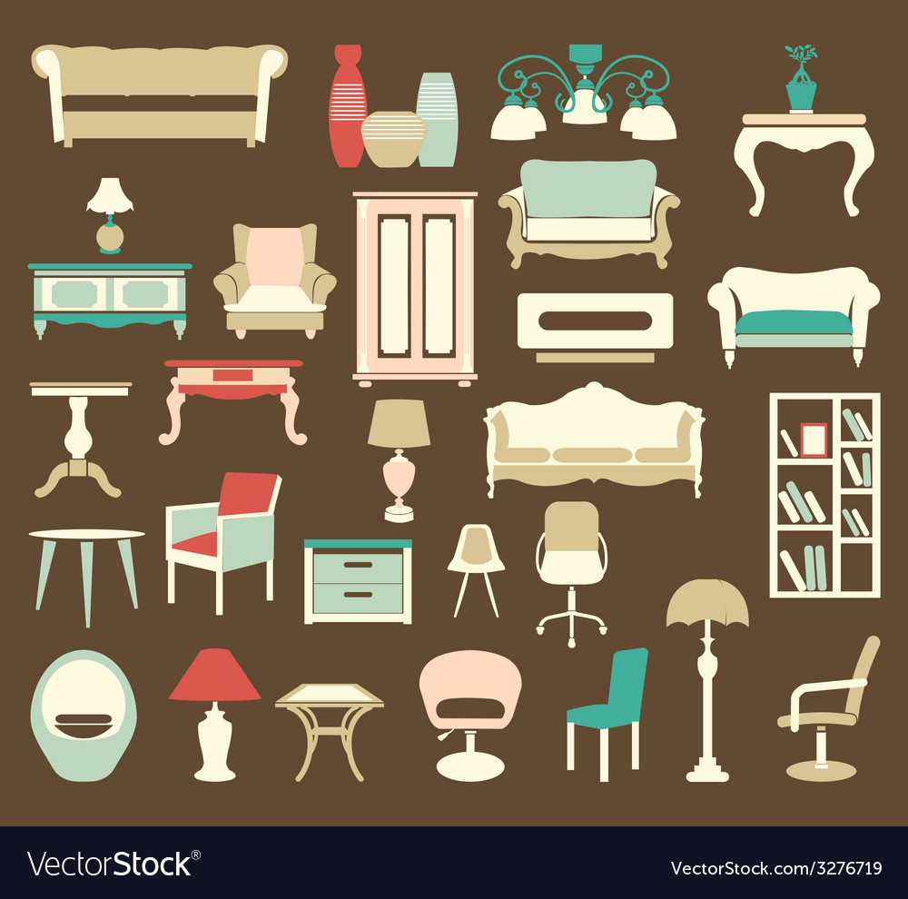Retro style furniture icons silhouettes vector | Price: 1 Credit (USD $1)