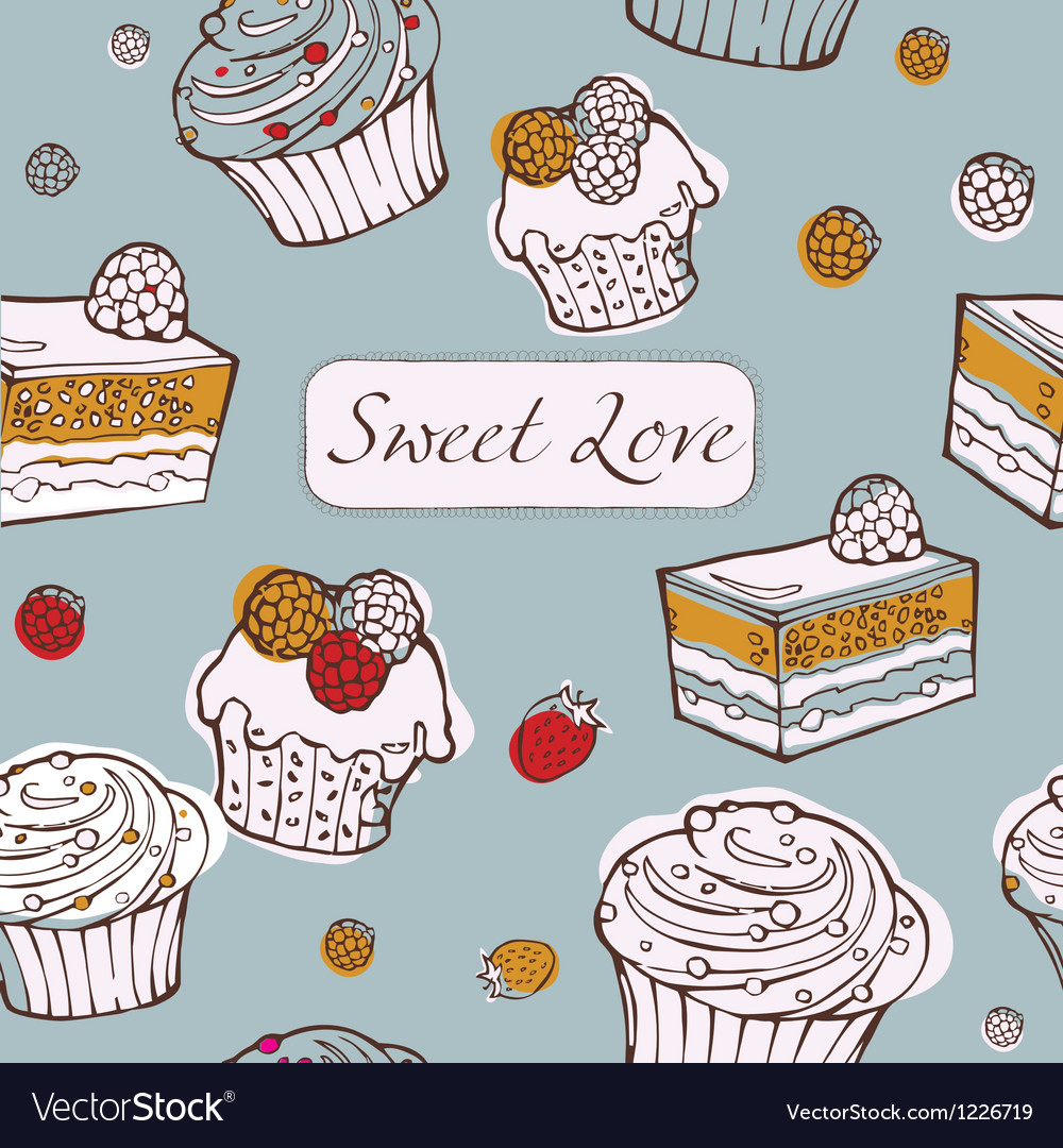 Seamless background with cakes sweet love card vector | Price: 1 Credit (USD $1)
