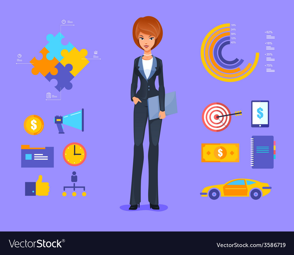 Smiling business woman of cartoon boss manager vector | Price: 1 Credit (USD $1)