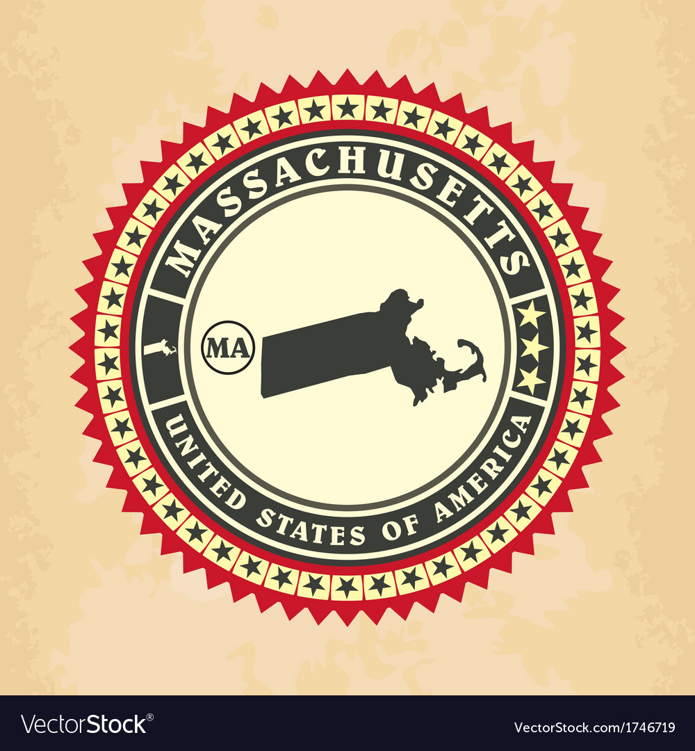 Vintage label-sticker cards of massachusetts vector | Price: 1 Credit (USD $1)