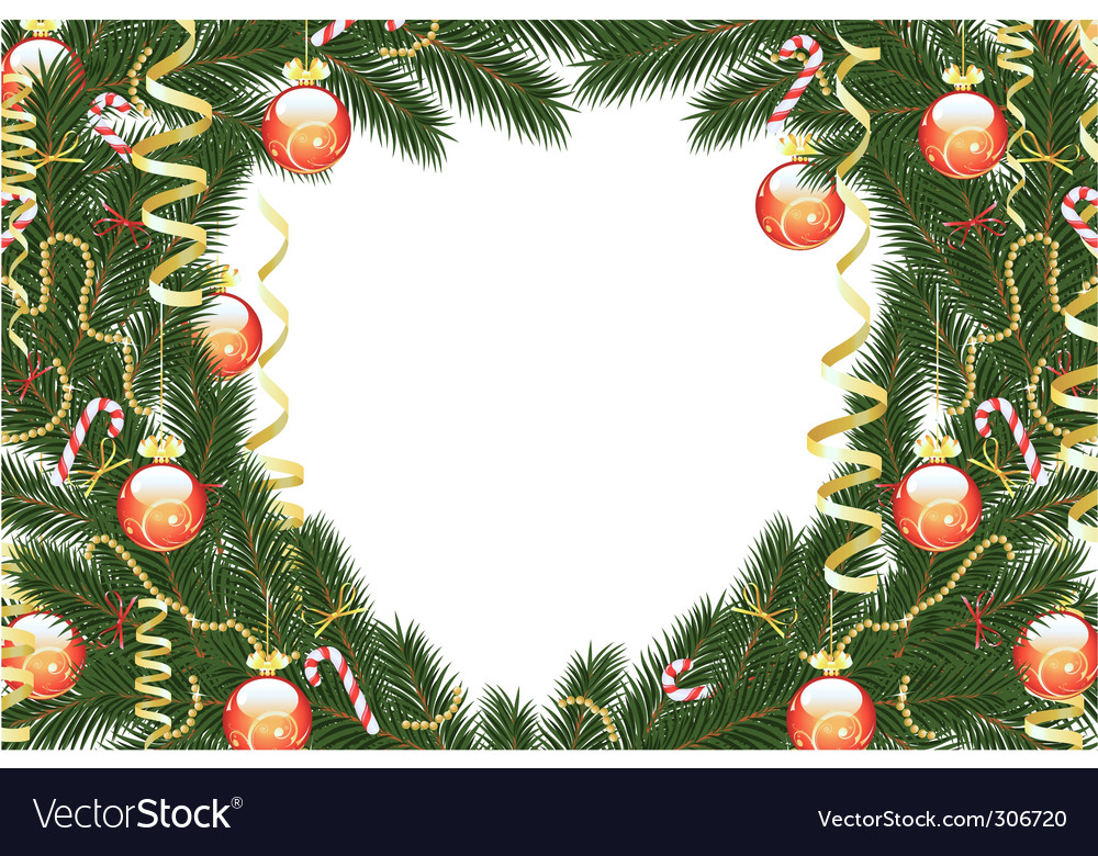 Christmas fir tree frame vector | Price: 1 Credit (USD $1)