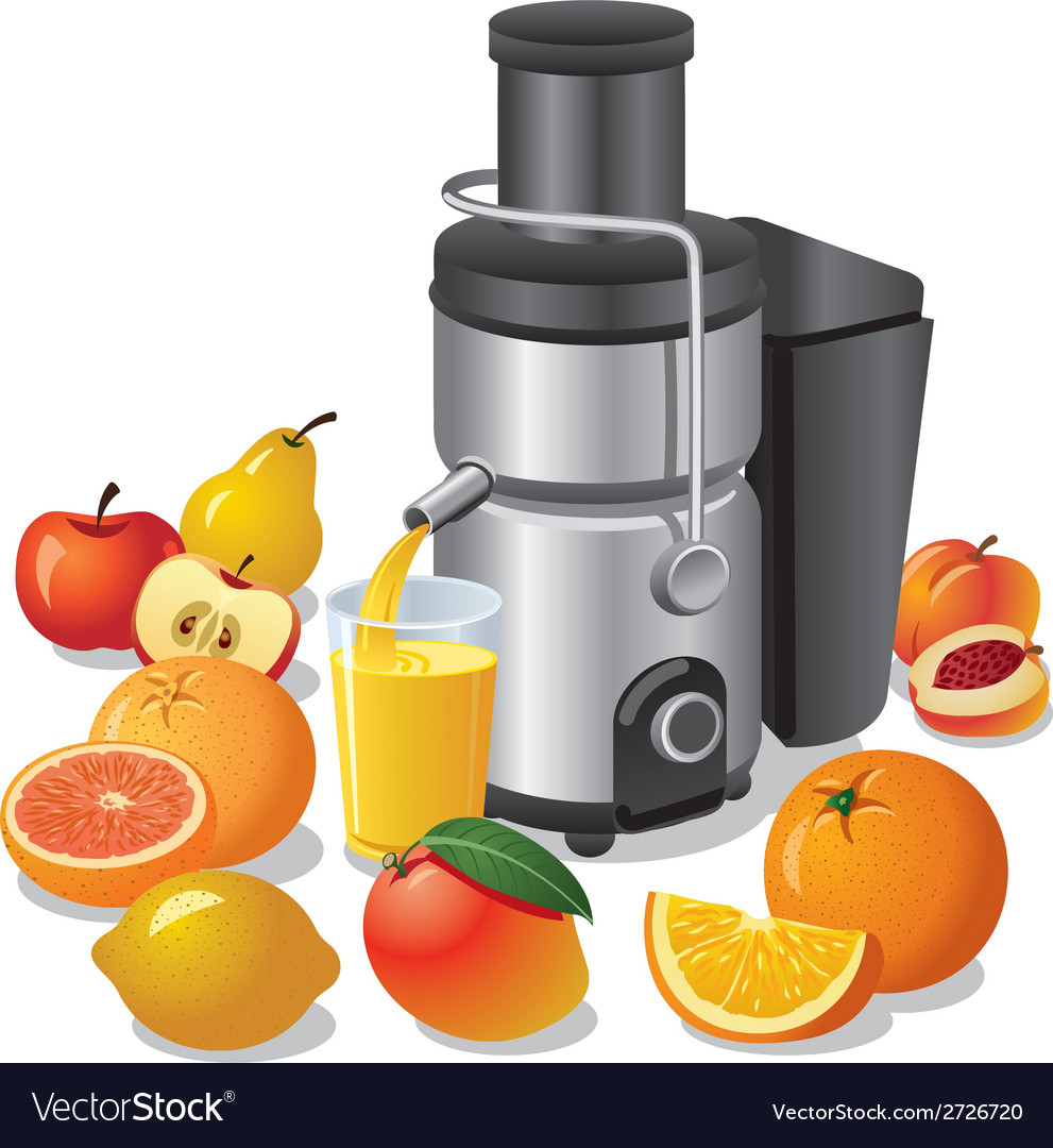 Electric juicer and fruits vector | Price: 3 Credit (USD $3)