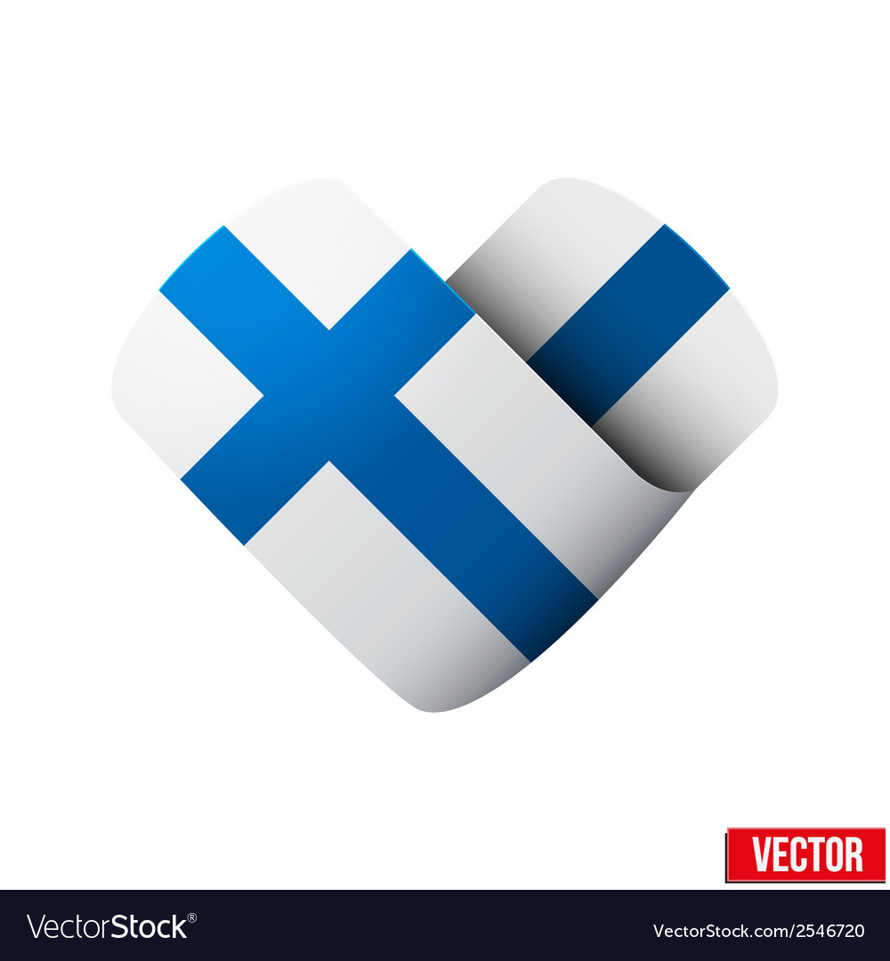 Flag icon in the form of heart i love finland vector | Price: 1 Credit (USD $1)