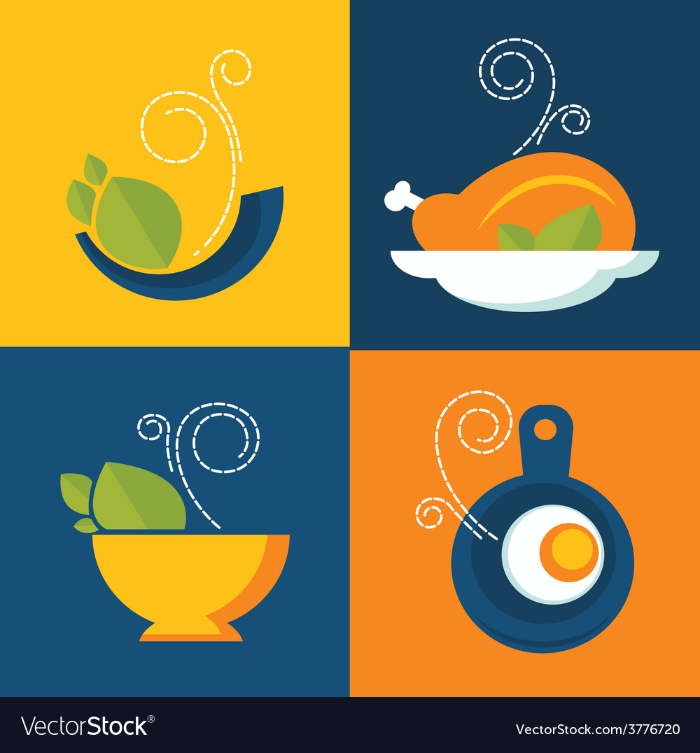 Flat food icons vector | Price: 1 Credit (USD $1)