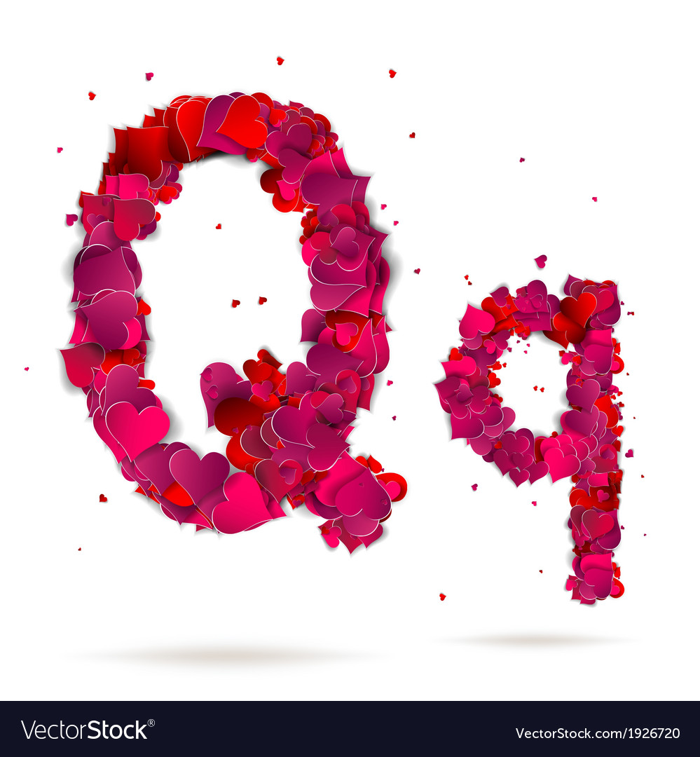Letter q made from hearts love alphabet vector | Price: 1 Credit (USD $1)