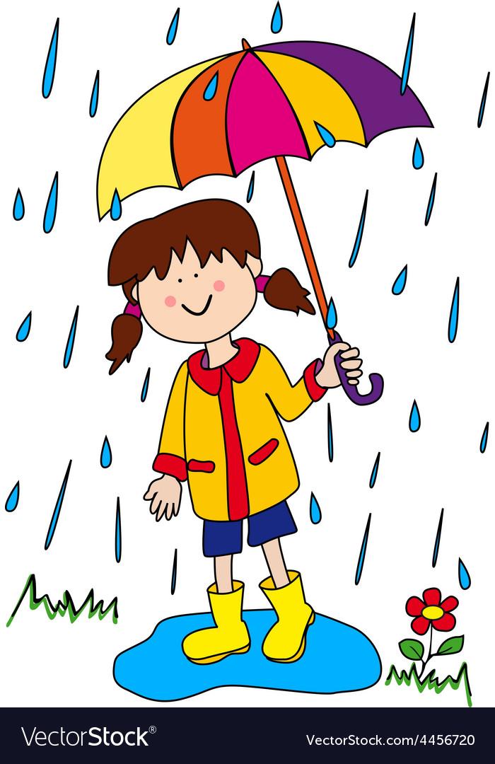 Little girl with umbrella vector