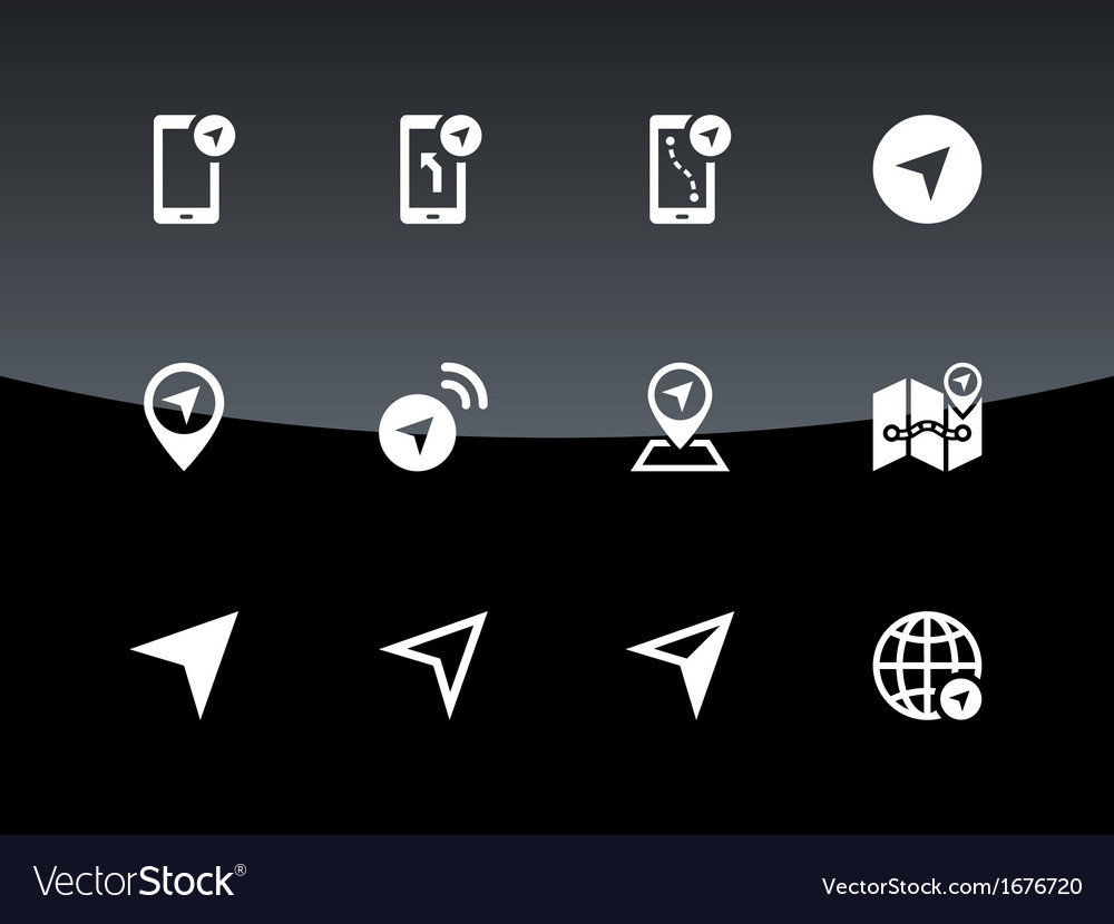 Navigator icons on black background vector | Price: 1 Credit (USD $1)