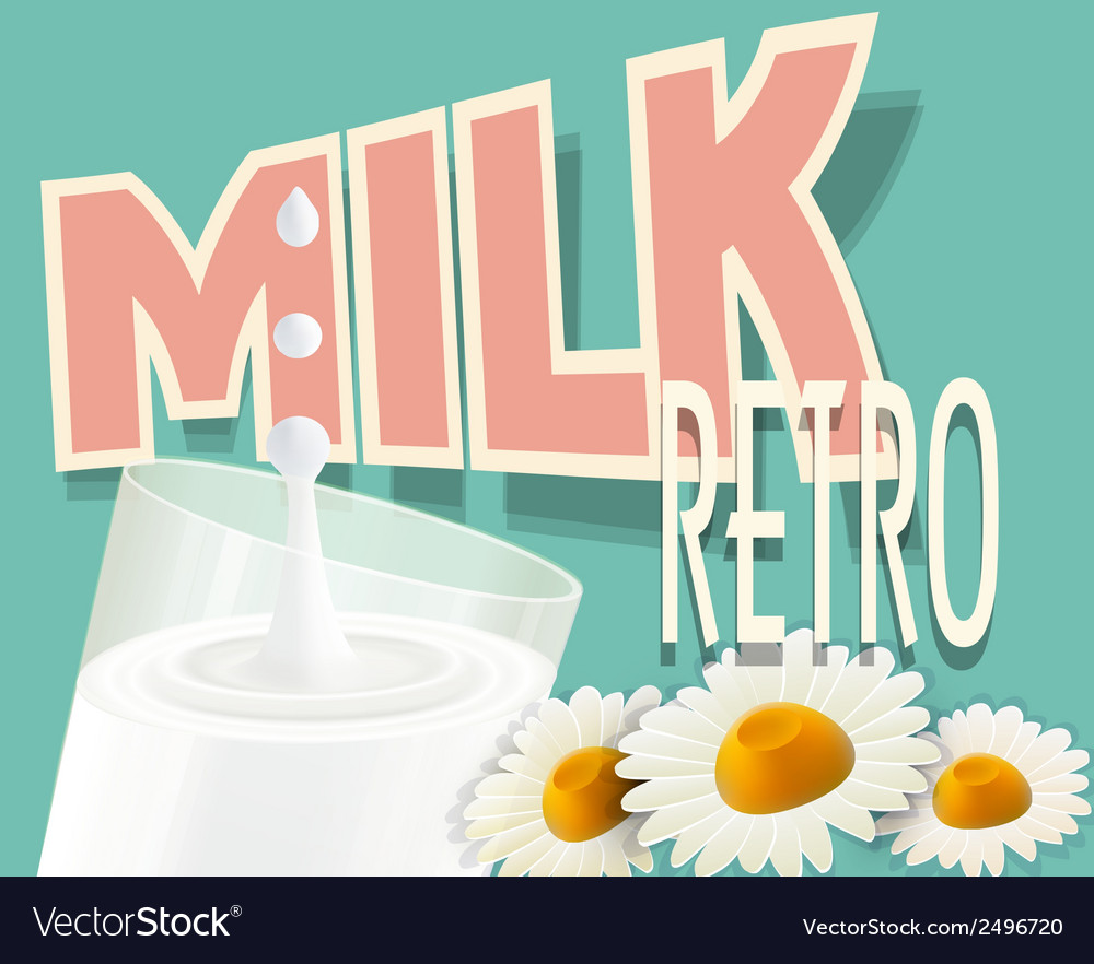 Retro background with a glass of milk vector | Price: 1 Credit (USD $1)