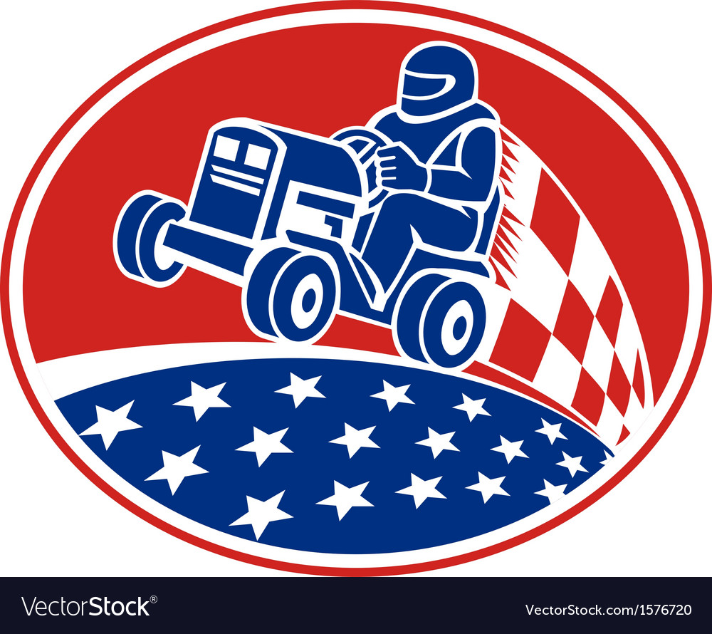 Ride on lawn mower racing retro vector | Price: 1 Credit (USD $1)
