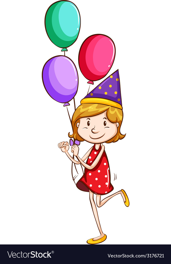 A simple drawing of a young girl with balloons vector | Price: 1 Credit (USD $1)