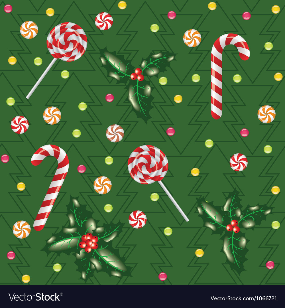 Candies lollipops and holly berry vector | Price: 1 Credit (USD $1)