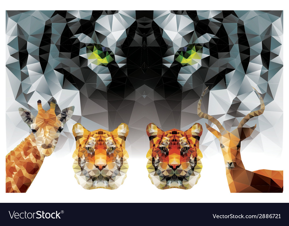 Collection of geometric polygon animals tiger vector | Price: 1 Credit (USD $1)