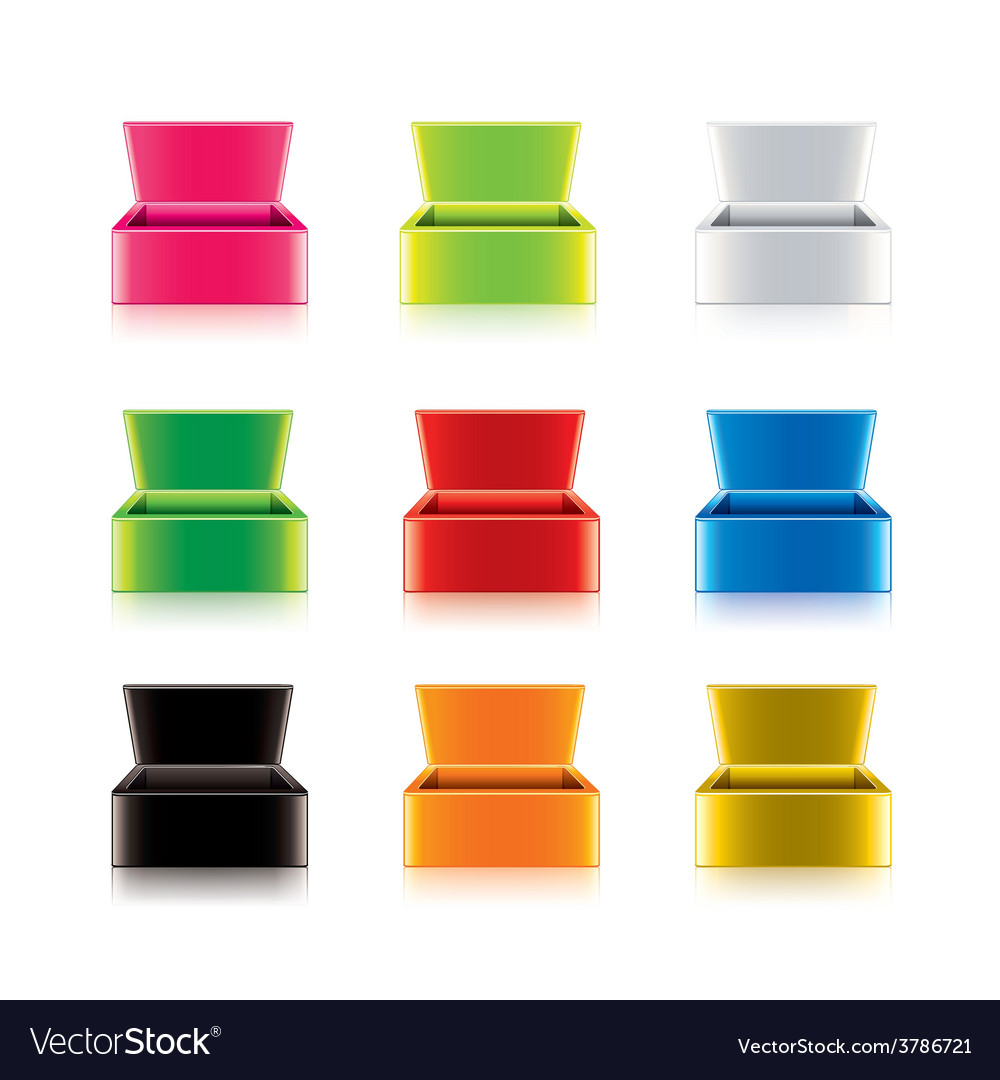 Colorful opened box set vector | Price: 3 Credit (USD $3)