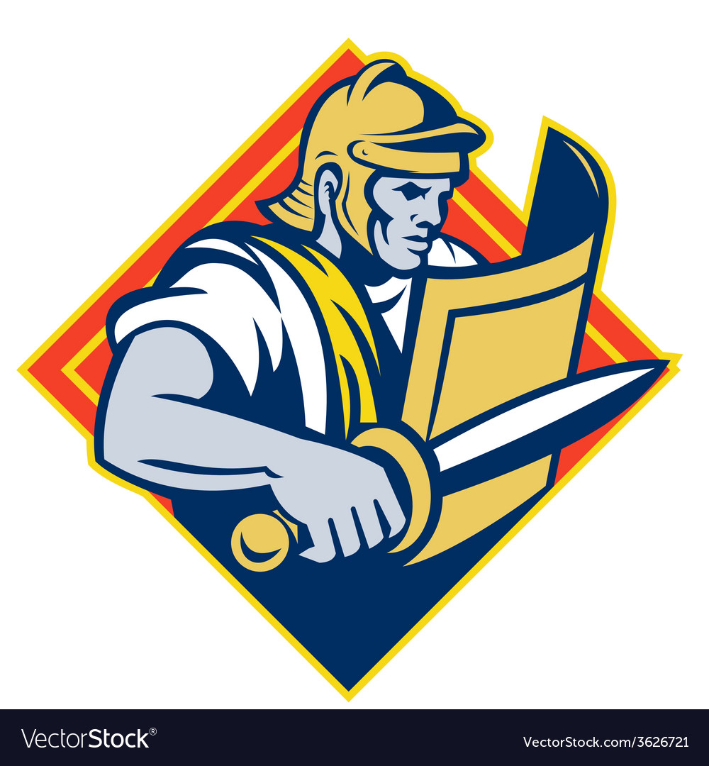 Gladiator with sword and shield vector   Price: 1 Credit (USD $1)