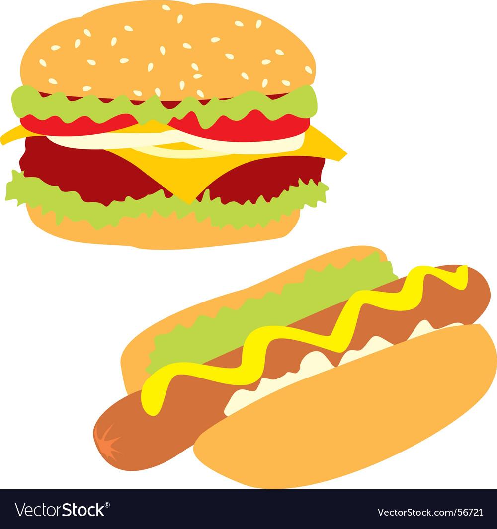 Hamburger and hotdog vector | Price: 1 Credit (USD $1)
