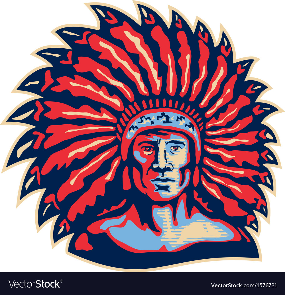 Native american indian chief warrior retro vector | Price: 3 Credit (USD $3)
