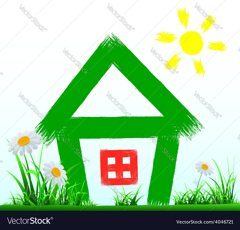Painted house stands on the lawn vector | Price: 1 Credit (USD $1)