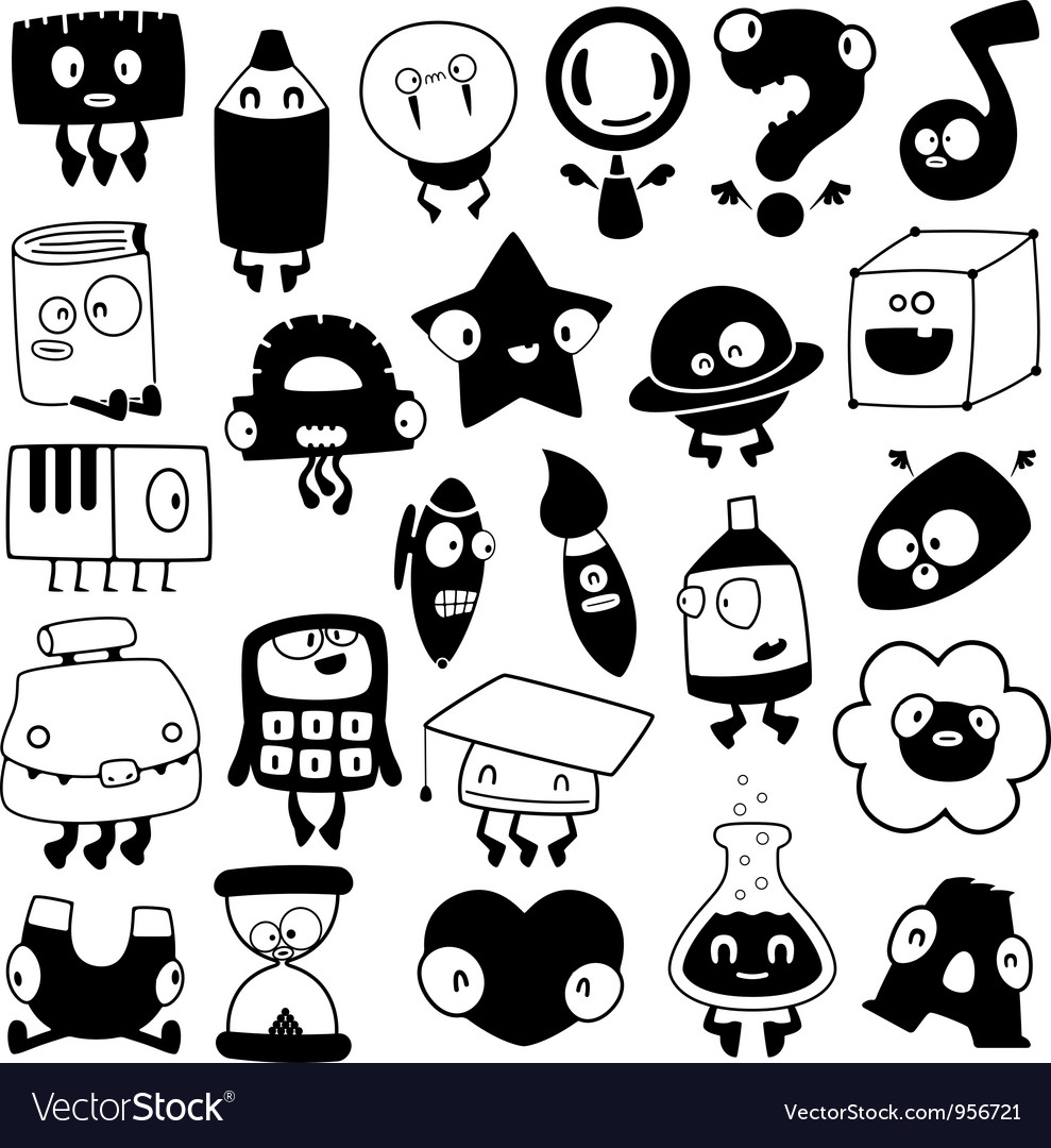 Set of cartoon school objects silhouettes vector | Price: 1 Credit (USD $1)