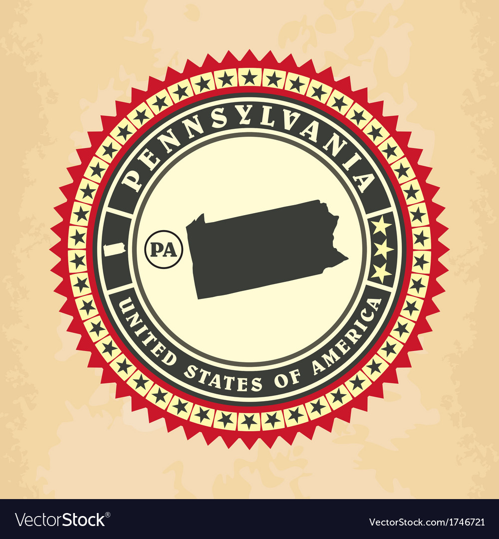 Vintage label-sticker cards of pennsylvania vector | Price: 1 Credit (USD $1)