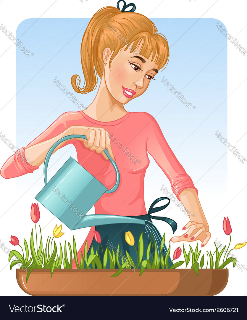 Woman watering her flowers with can vector | Price: 3 Credit (USD $3)