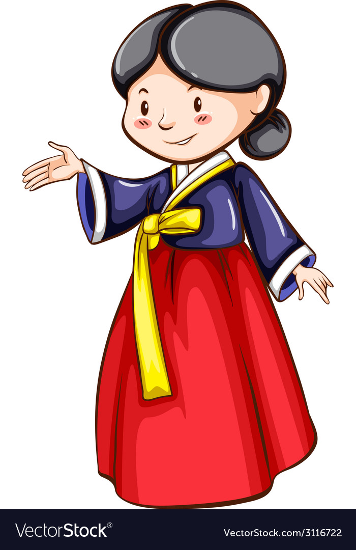 A sketch of a girl wearing an asian costume vector | Price: 1 Credit (USD $1)