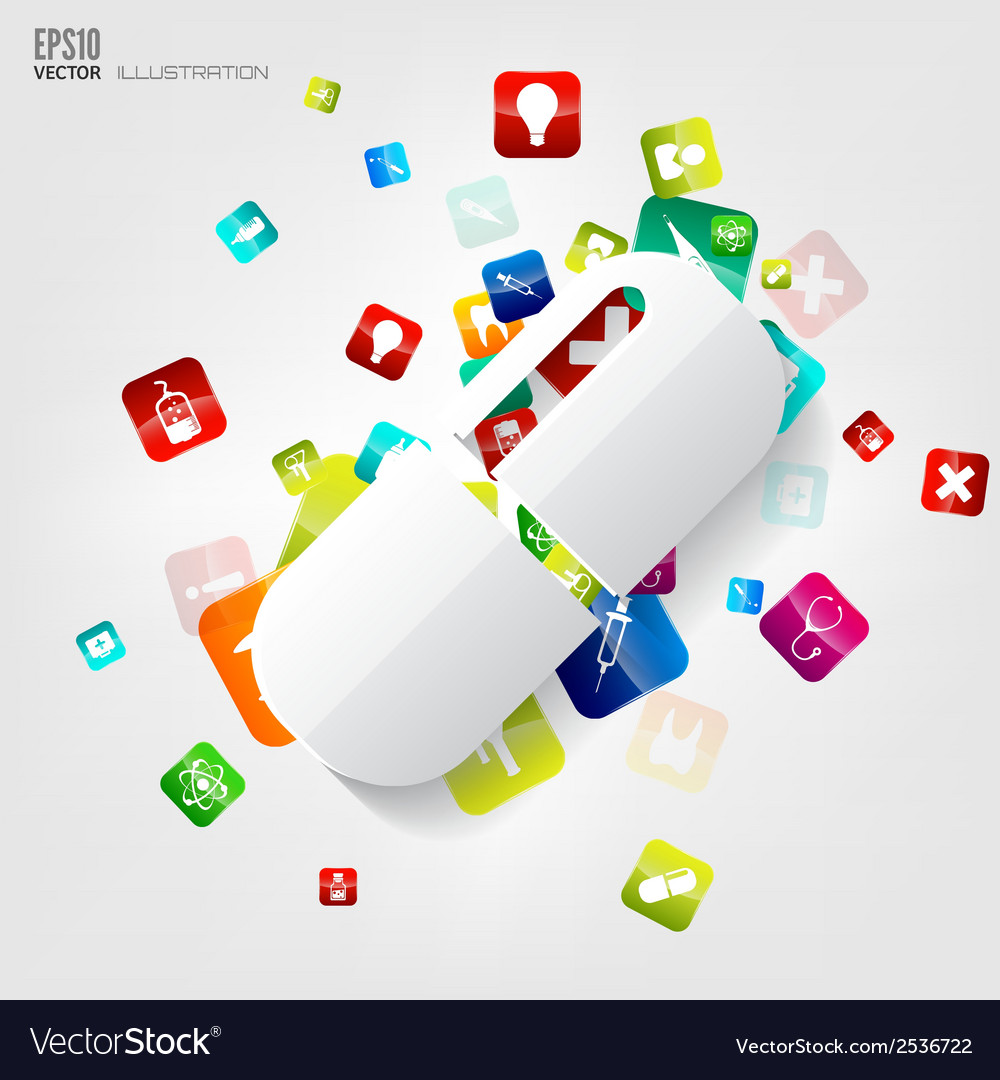 Abstract medical background with application icons vector | Price: 1 Credit (USD $1)