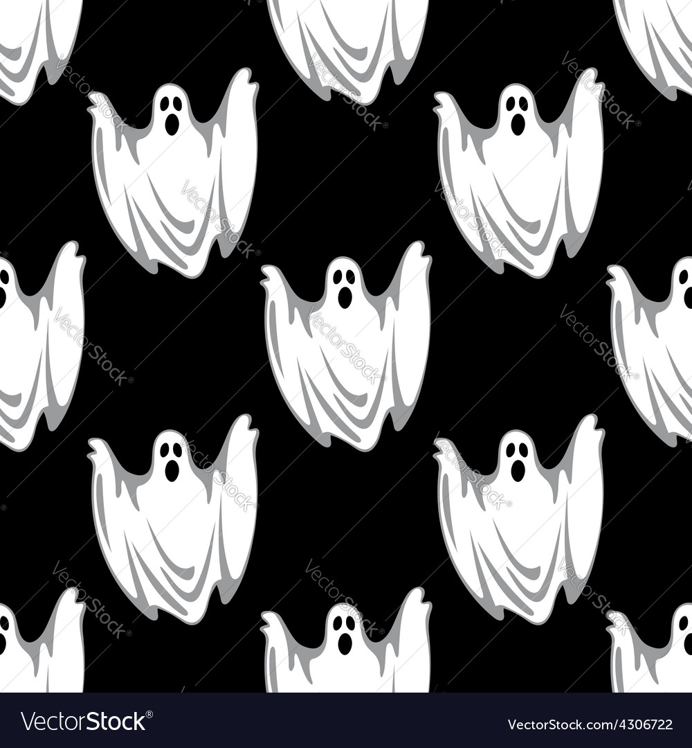 Cartoon scary ghosts in halloween seamless pattern vector | Price: 1 Credit (USD $1)