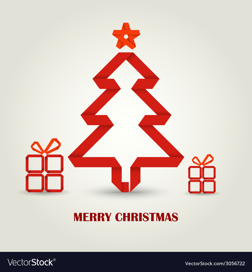 Christmas card with folded paper red christmas vector | Price: 1 Credit (USD $1)