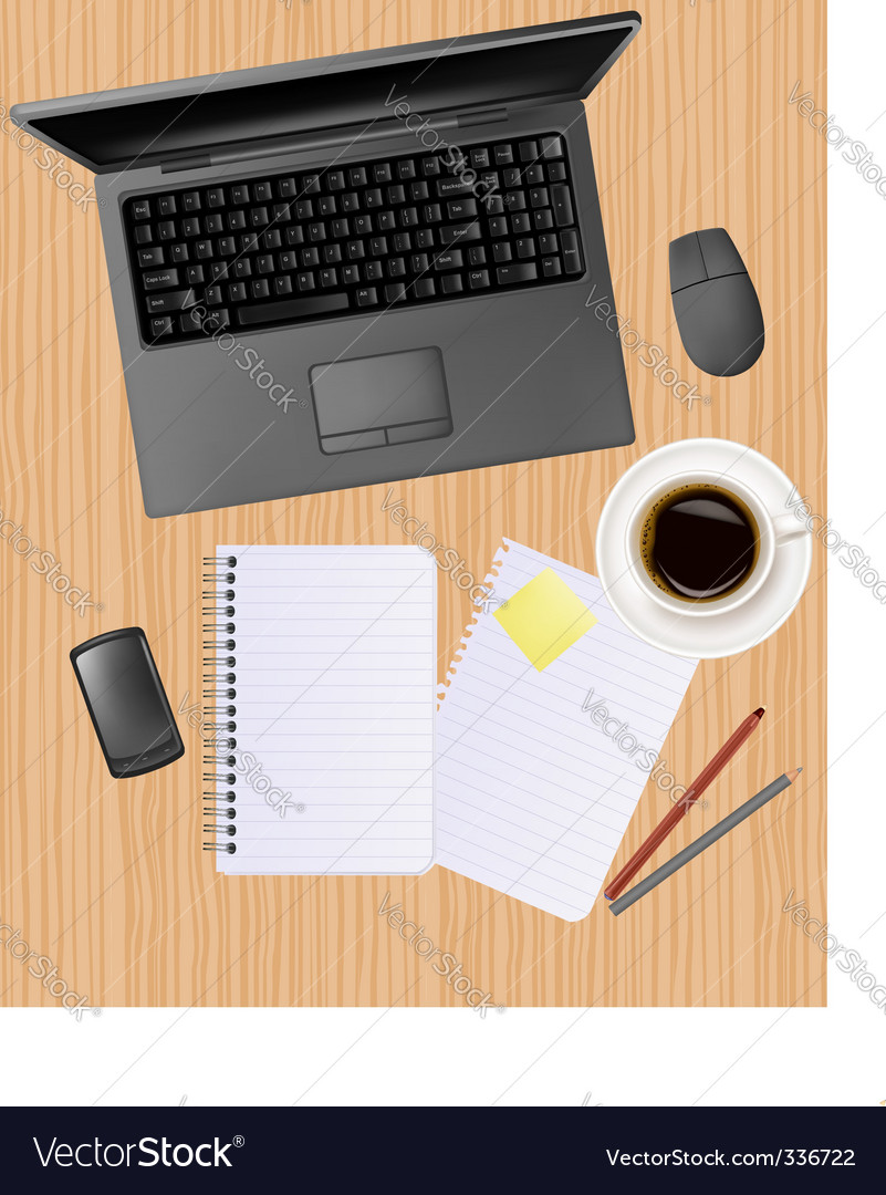 Computer notebook on the table vector | Price: 1 Credit (USD $1)