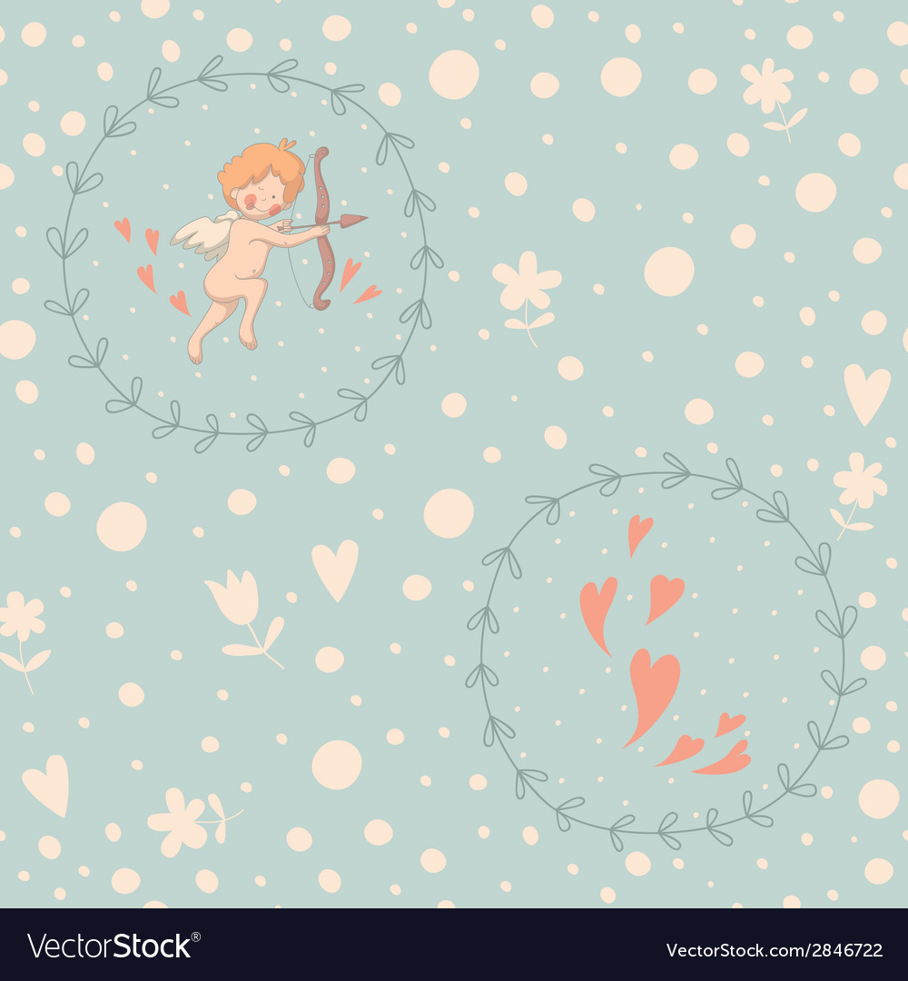 Cupid wreath seamless pattern vector | Price: 1 Credit (USD $1)