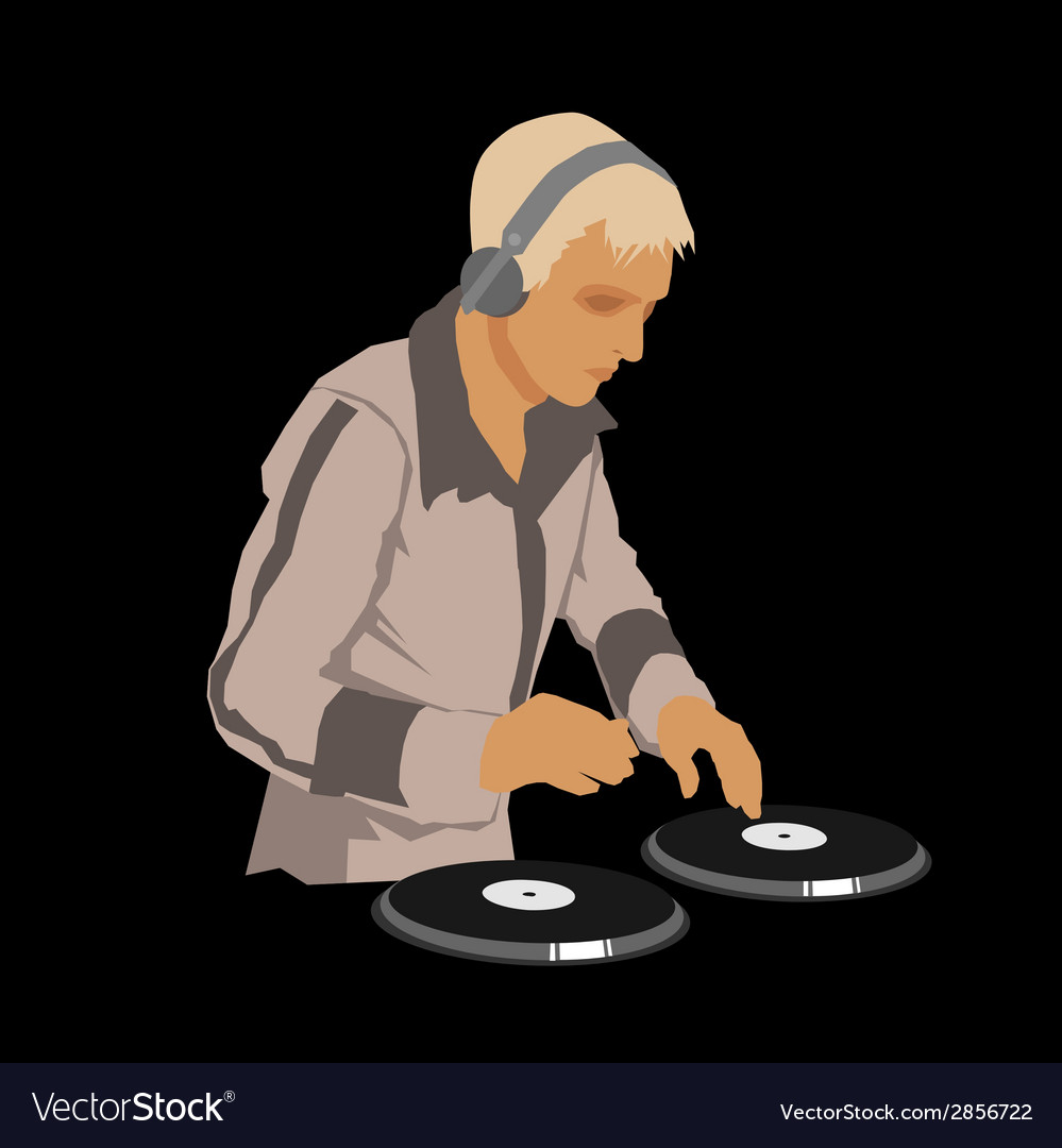 Dj wearing headphones and scratching a record on vector | Price: 1 Credit (USD $1)