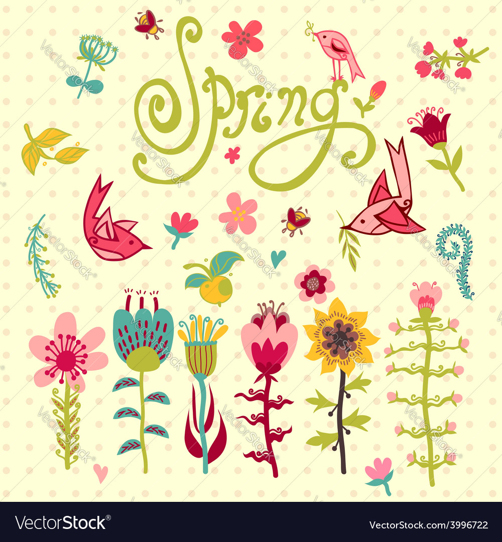 Doodle set of spring flowers with lettering vector | Price: 1 Credit (USD $1)
