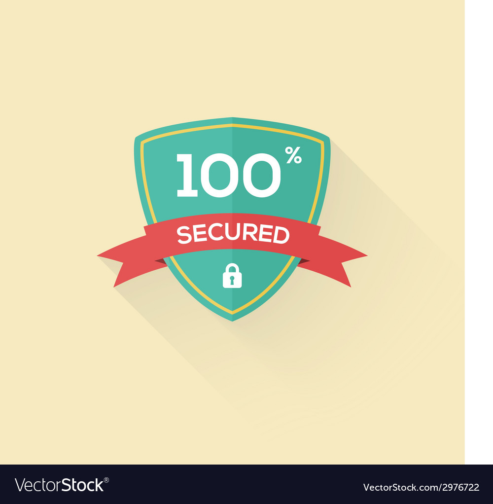 Security shield icon badge in flat style vector | Price: 1 Credit (USD $1)