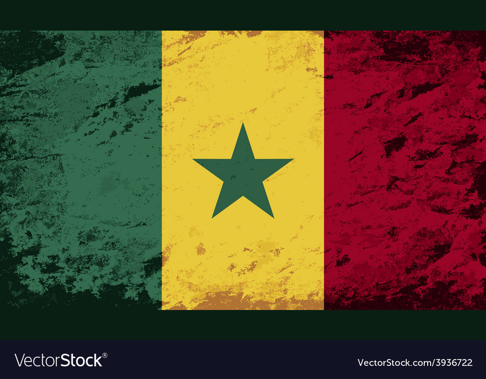 Senegalese flag grunge background vector | Price: 1 Credit (USD $1)