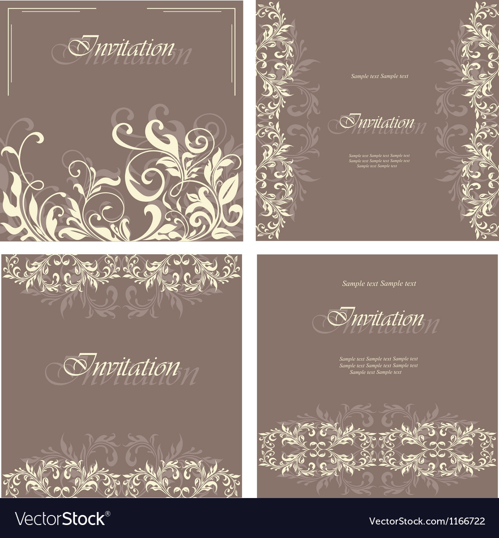 Set of floral card vector | Price: 1 Credit (USD $1)