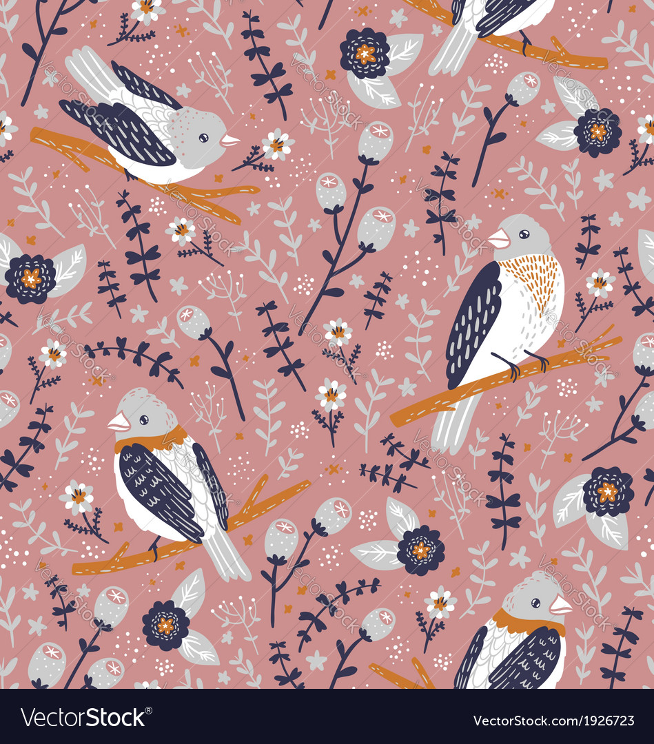 Beautiful birds and flower berries pattern vector | Price: 1 Credit (USD $1)
