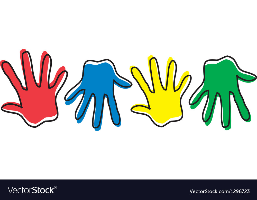 Four colored hands vector | Price: 1 Credit (USD $1)