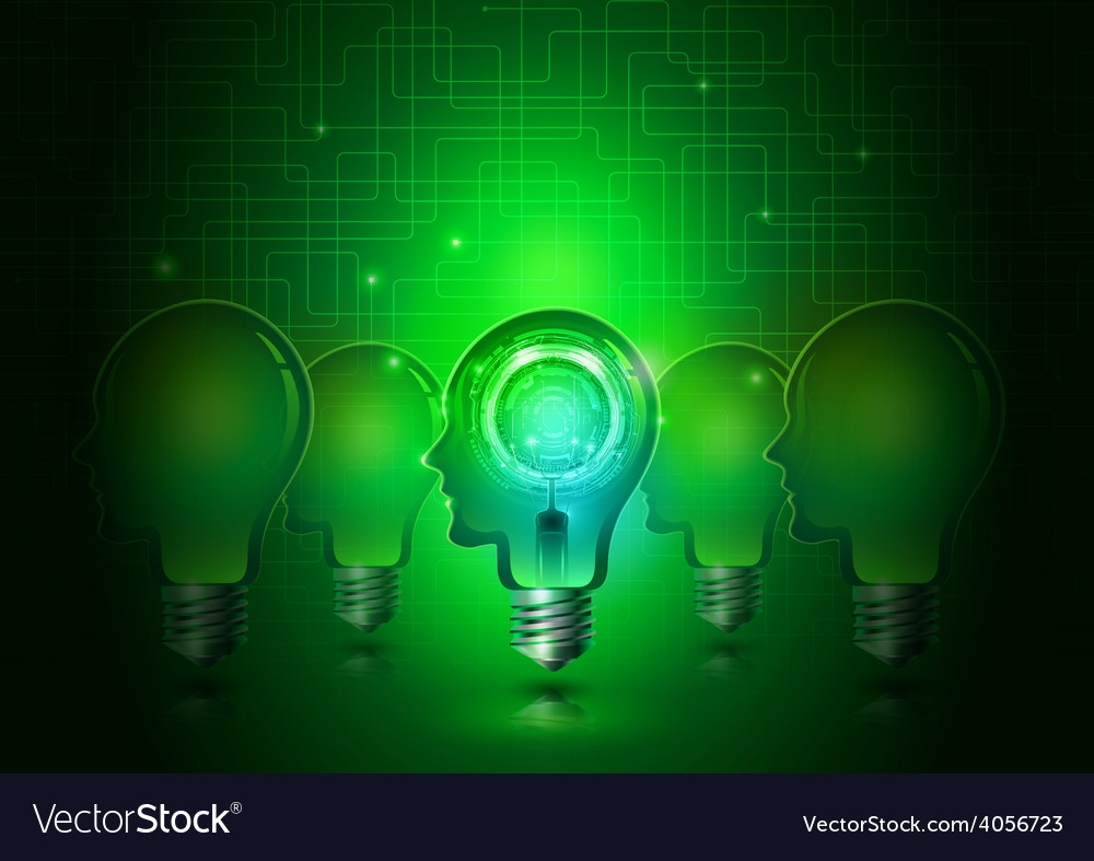 Human head light bulbs with technology background vector | Price: 3 Credit (USD $3)