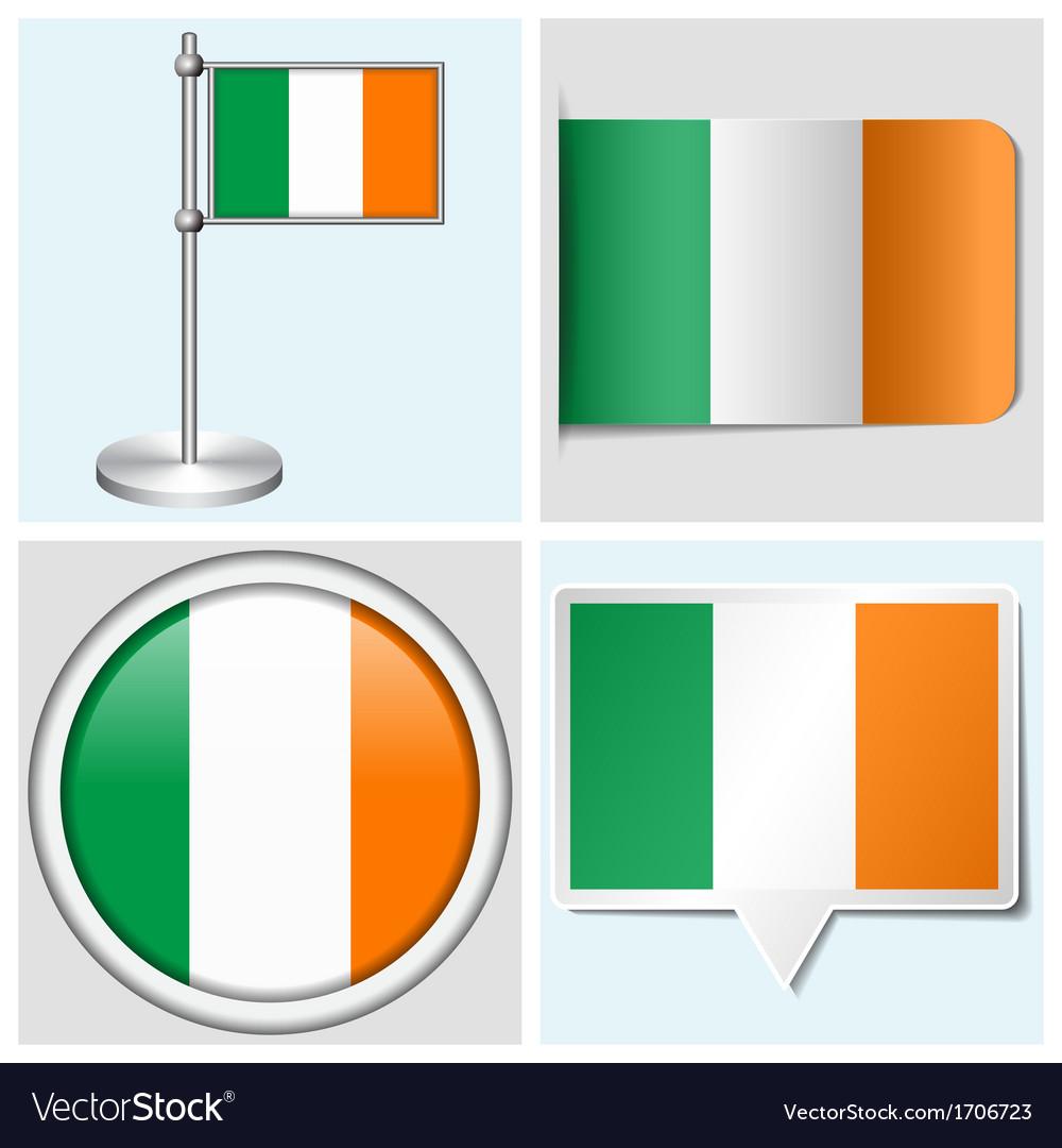 Ireland flag - sticker button label flagstaff vector | Price: 1 Credit (USD $1)