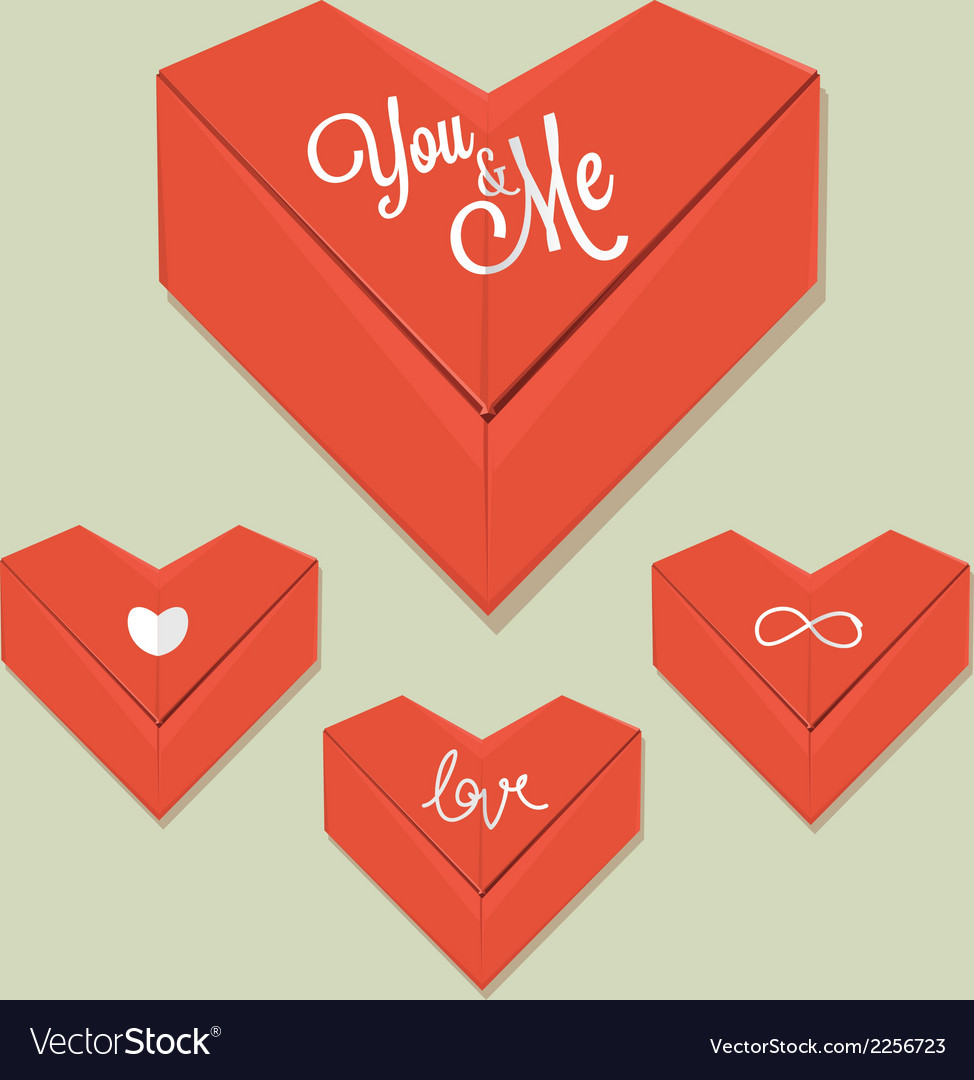 Origami heart red paper vector | Price: 1 Credit (USD $1)
