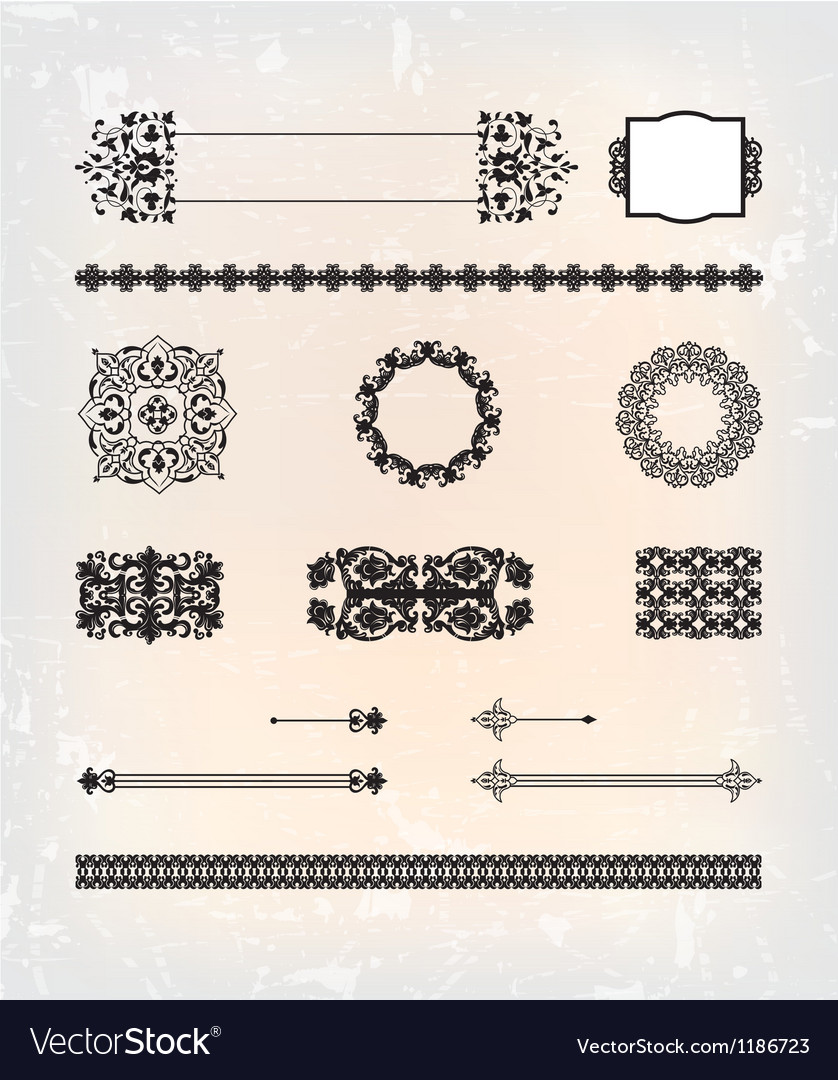 Set of abstract antique flourish pattern vector | Price: 1 Credit (USD $1)