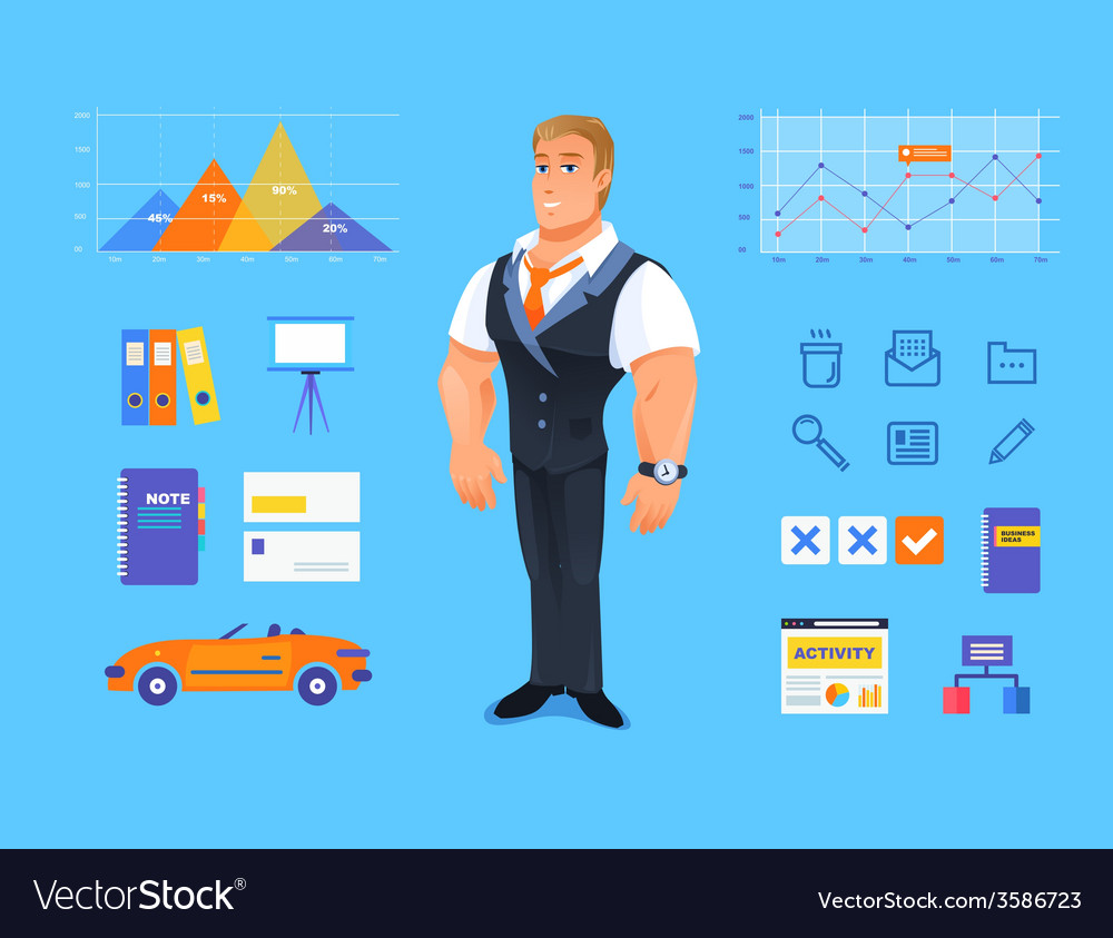 Smiling businessman of cartoon boss manager vector | Price: 1 Credit (USD $1)
