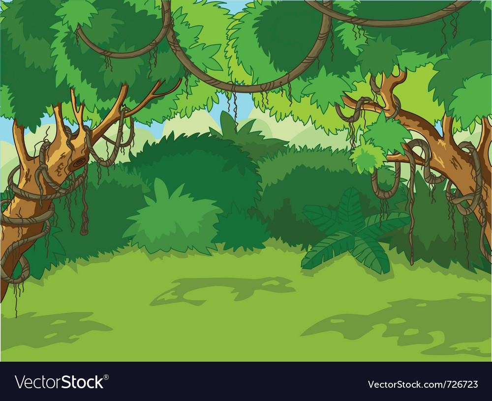 Tropical forest landscape vector | Price: 1 Credit (USD $1)